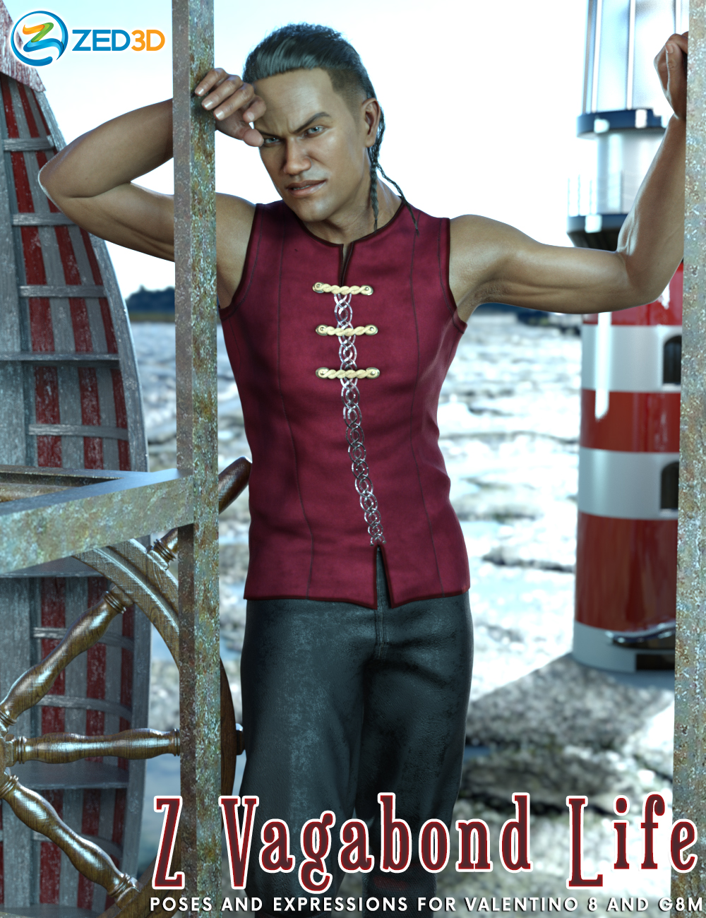 Z Vagabond Life Poses and Expressions for Valentino 8 by: Zeddicuss, 3D Models by Daz 3D