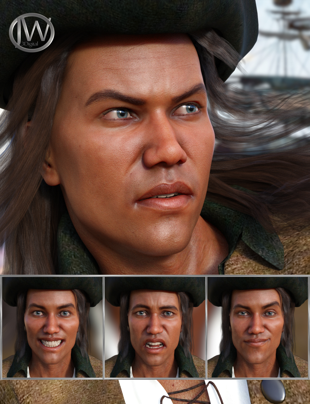 The Pirate - Expressions for Genesis 8 Male and Valentino 8 by: JWolf, 3D Models by Daz 3D