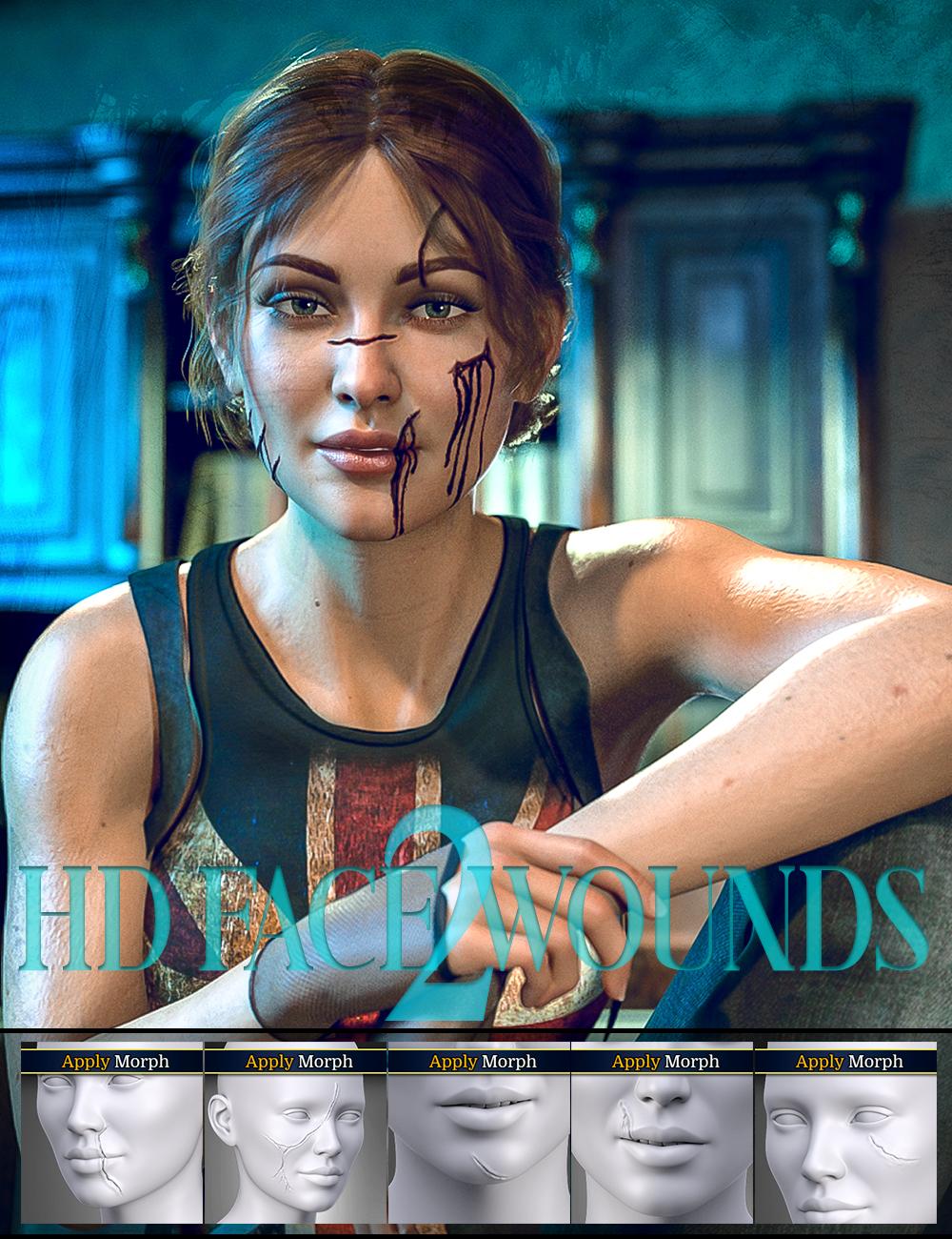 HD Face Wounds 2 for Genesis 3 & 8 Female(s) by: FenixPhoenixEsid, 3D Models by Daz 3D