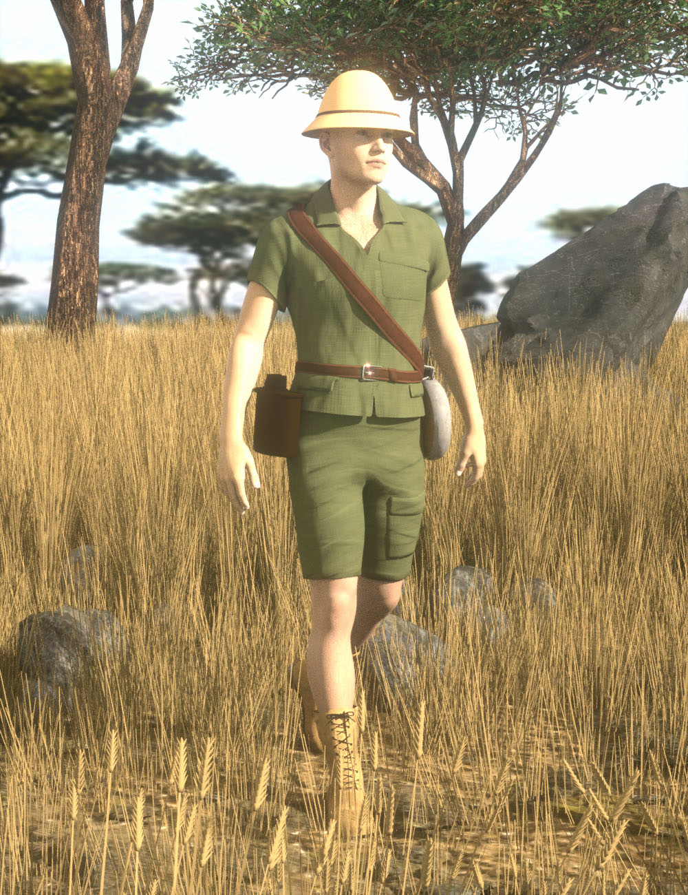African Safari Outfit for Genesis 8 Male(s) by: AcharyaPolina, 3D Models by Daz 3D