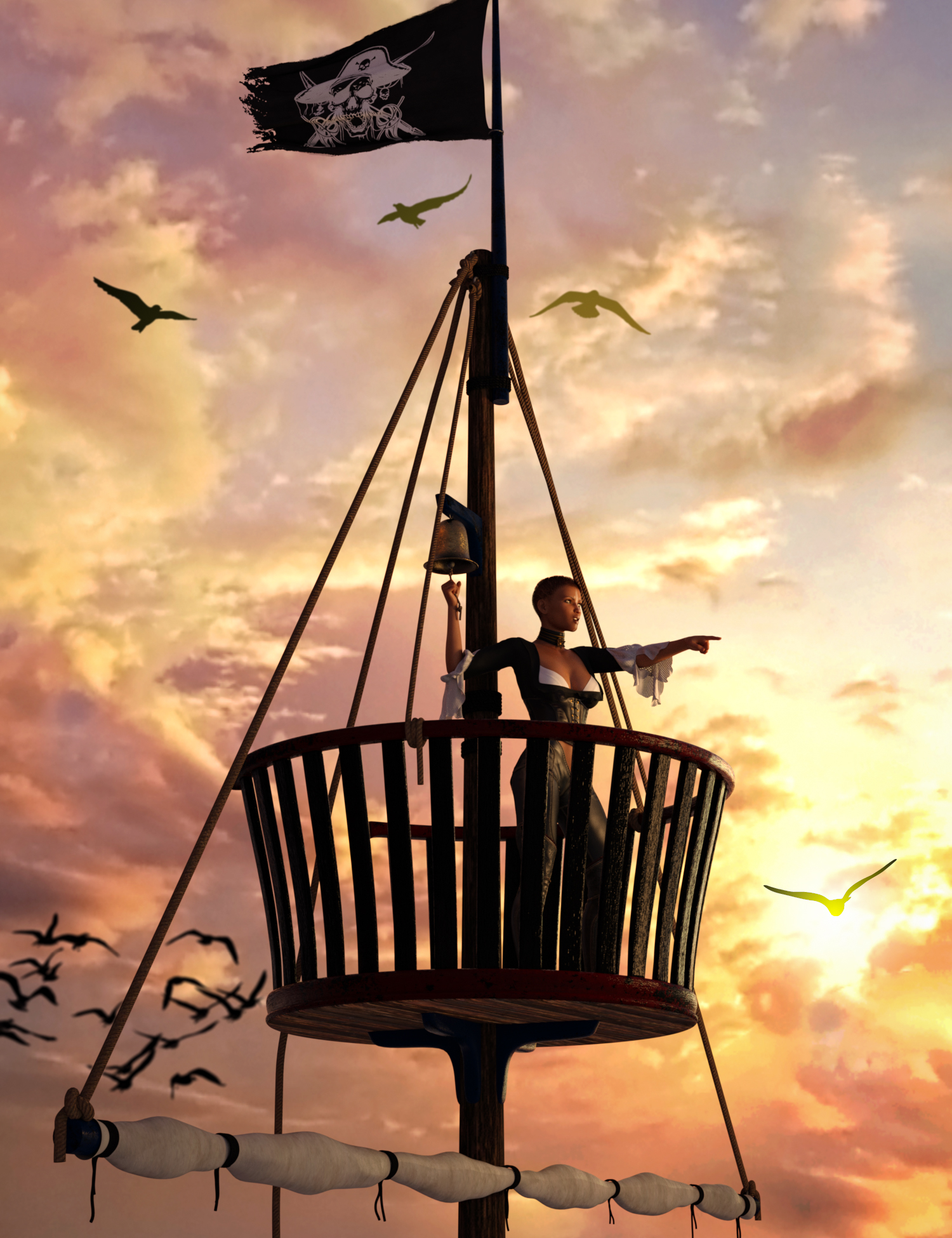 Swashbuckler Poses Props and Crows Nest for Genesis 8 by: Skyewolf, 3D Models by Daz 3D