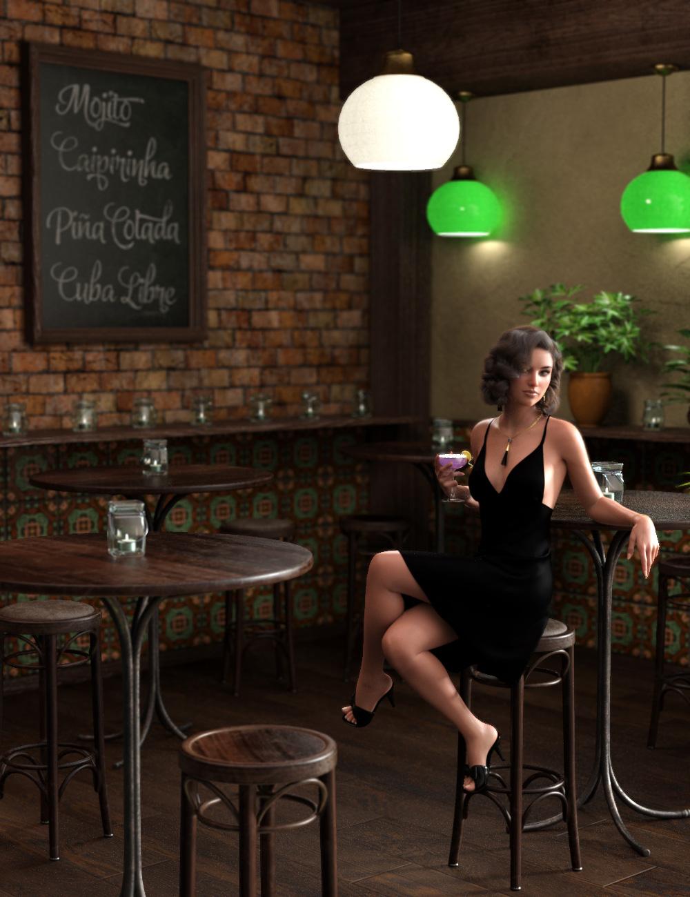 Cocktail Bar Vignette by: esha, 3D Models by Daz 3D