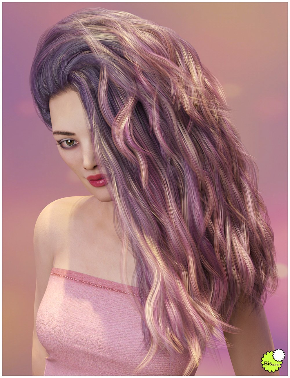Texture Expansion for Biscuits Jam Hair by: Biscuits, 3D Models by Daz 3D
