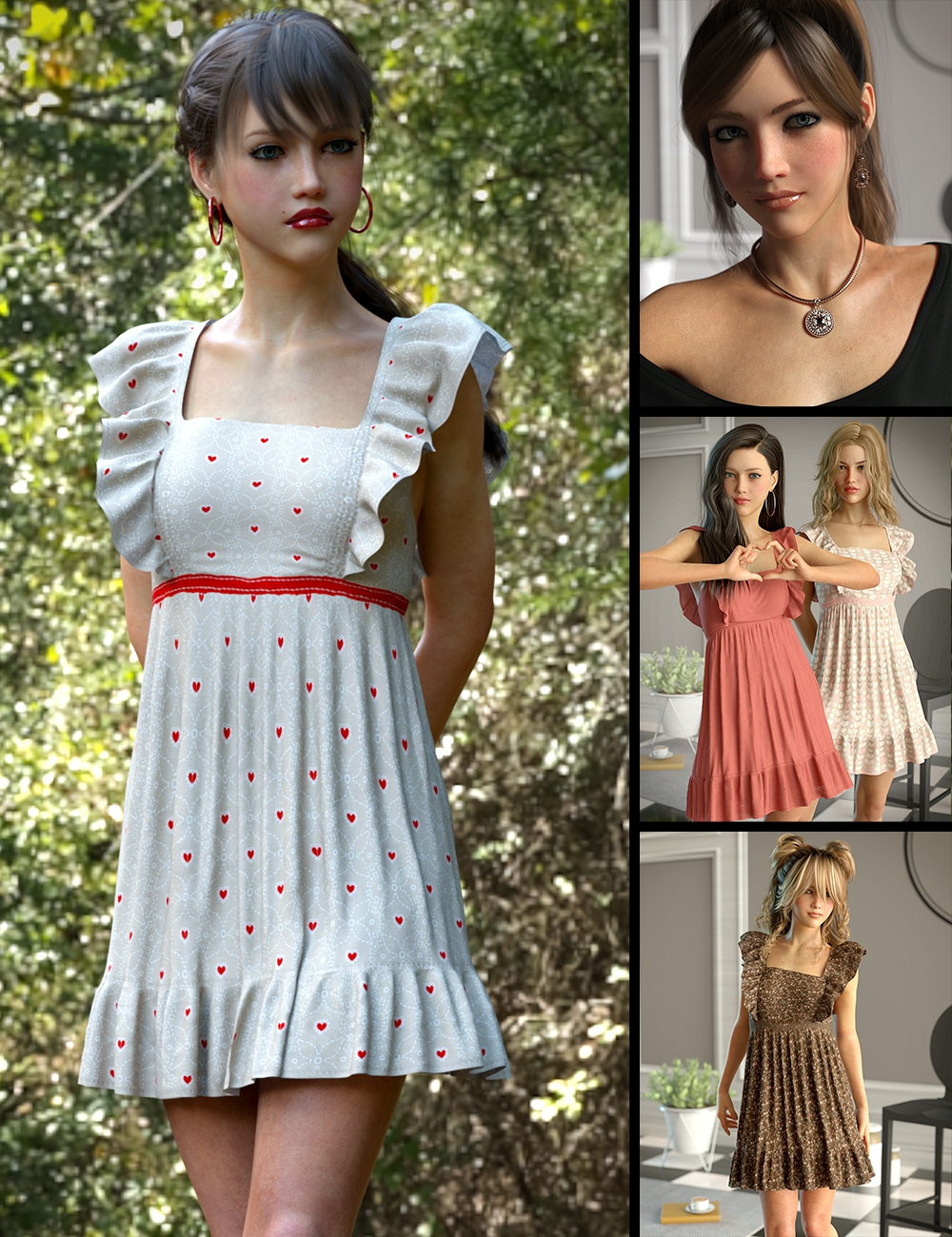 Christabel and the Sincerity Dress Bundle by: Lyoness, 3D Models by Daz 3D