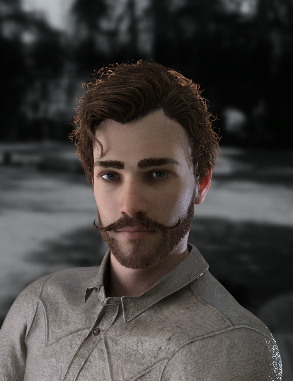 Bastien Curly Hair and Beard for Genesis 8 Male(s)