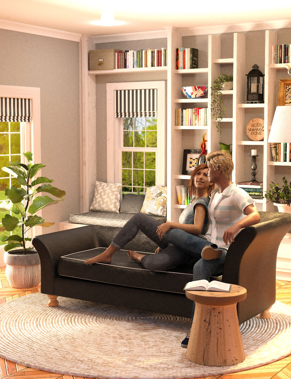 Calm Corner with Poses for Genesis 8 by: SilvaAnt3d, 3D Models by Daz 3D