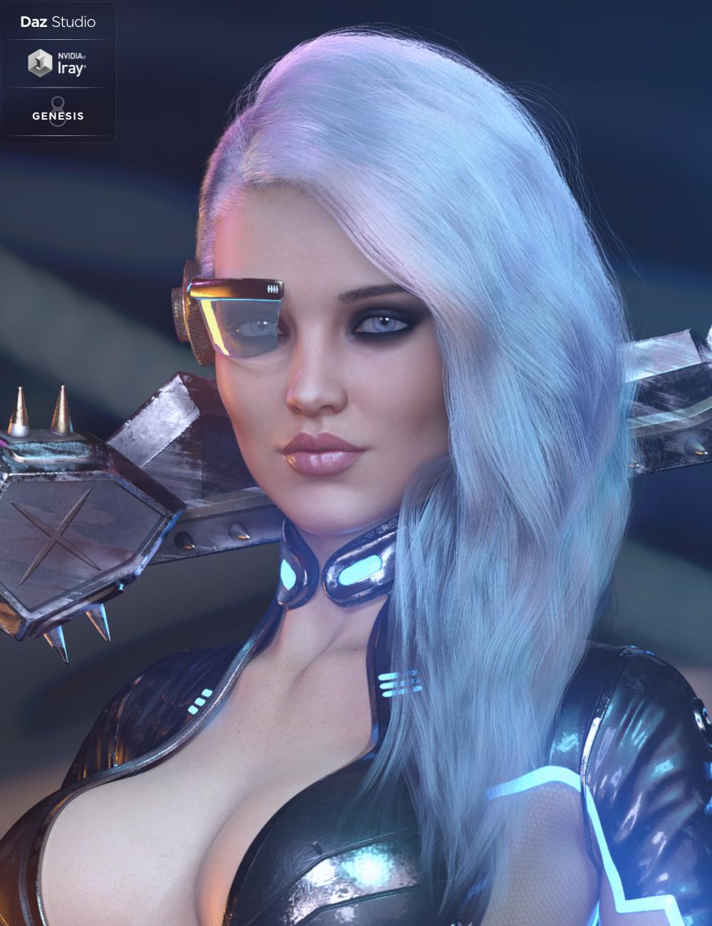 dForce RockZ Hair for Genesis 8 Female(s) by: HM, 3D Models by Daz 3D