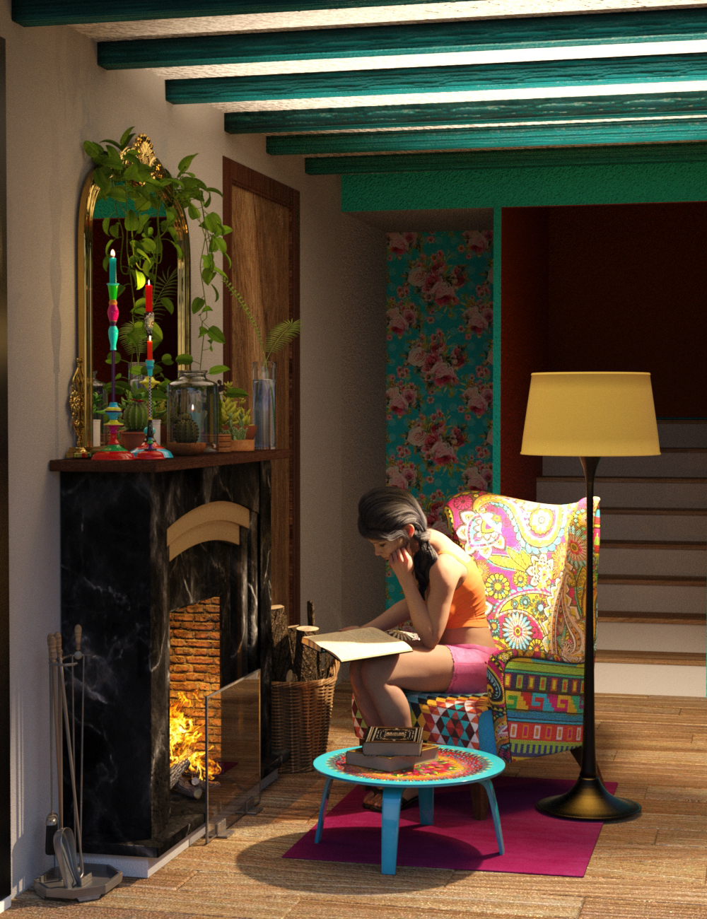 Boho Cottage : Base and Fireplace by: 3DStyle, 3D Models by Daz 3D