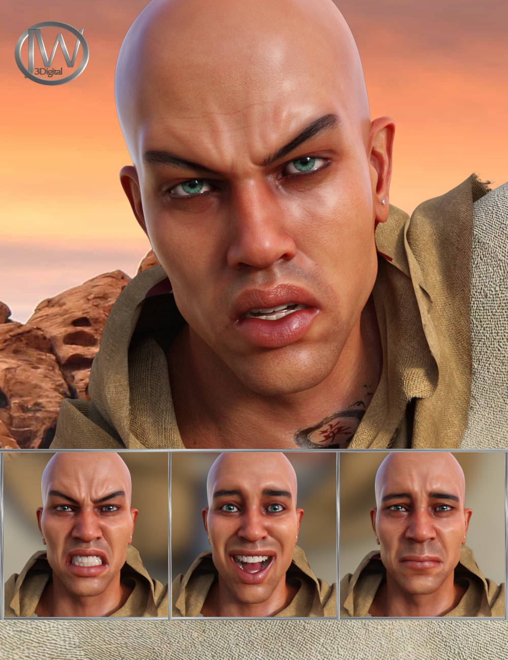Priest of the Sun Expressions for Genesis 8 Male and Ashan 8 by: JWolf, 3D Models by Daz 3D