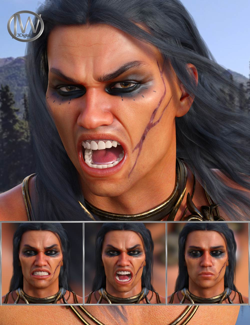 Enraged - Expressions for Genesis 8 Male and Scar 8 by: JWolf, 3D Models by Daz 3D
