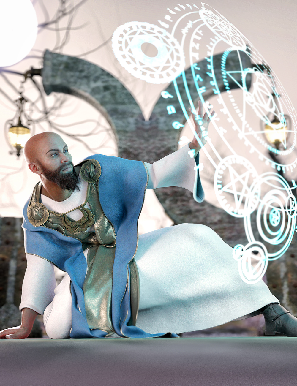 dForce Insidious Monk Outfit for Genesis 8 Male(s) by: Barbara BrundonMoonscape GraphicsSade, 3D Models by Daz 3D