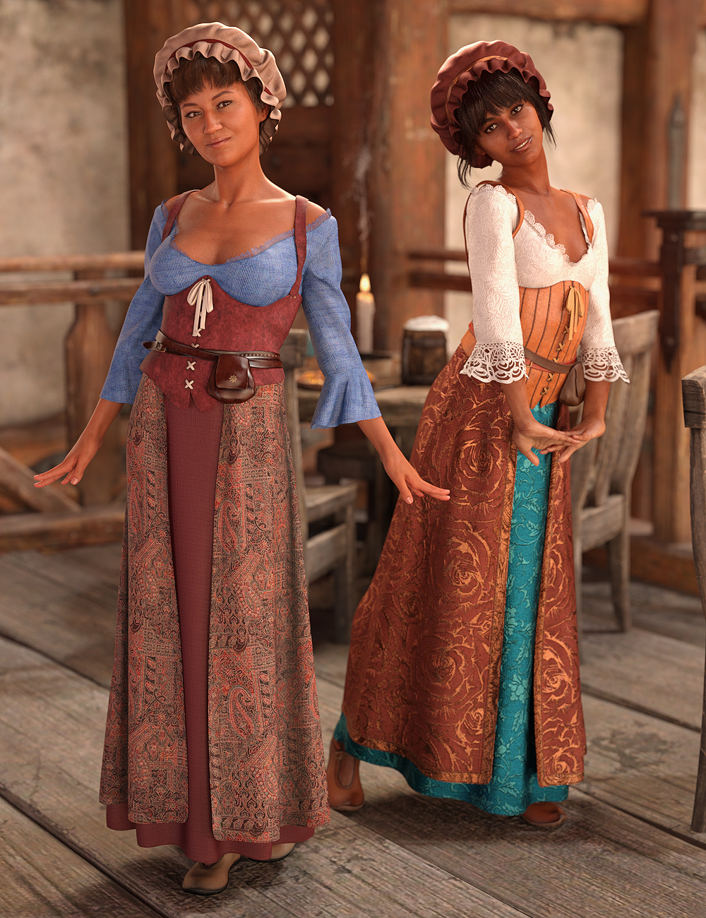 dForce Medieval Barmaid Textures : Weary by: Moonscape GraphicsSade, 3D Models by Daz 3D