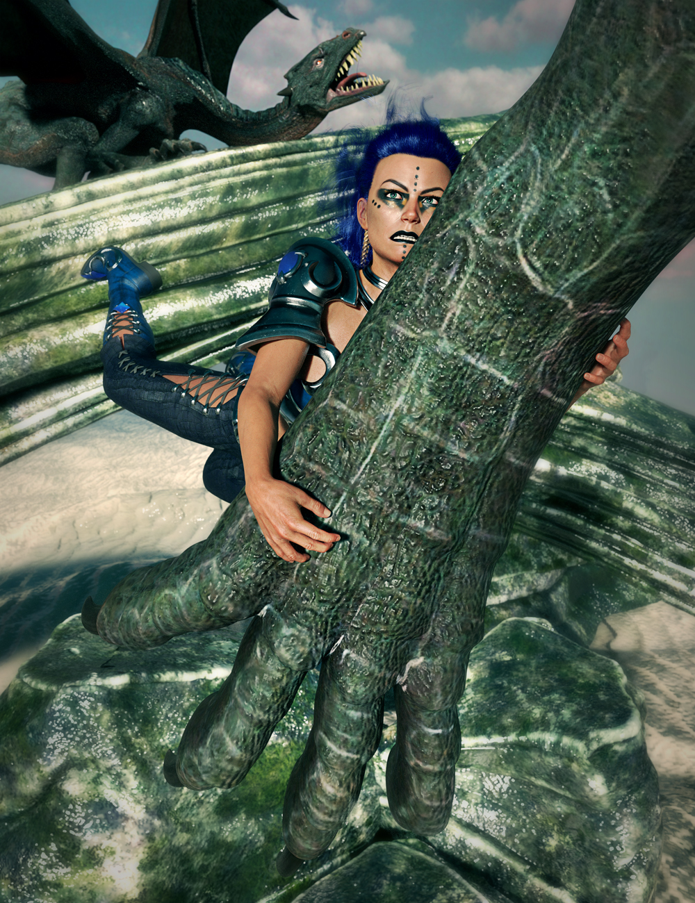 SBibb Insulting the Dragon Poses for Angharad 8 and Dragon 3 by: SBibb, 3D Models by Daz 3D