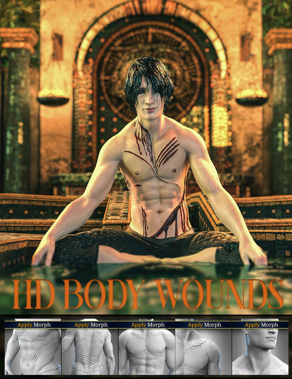 Body Wounds HD Morphs for Genesis 8 Male(s) by: FenixPhoenixEsid, 3D Models by Daz 3D