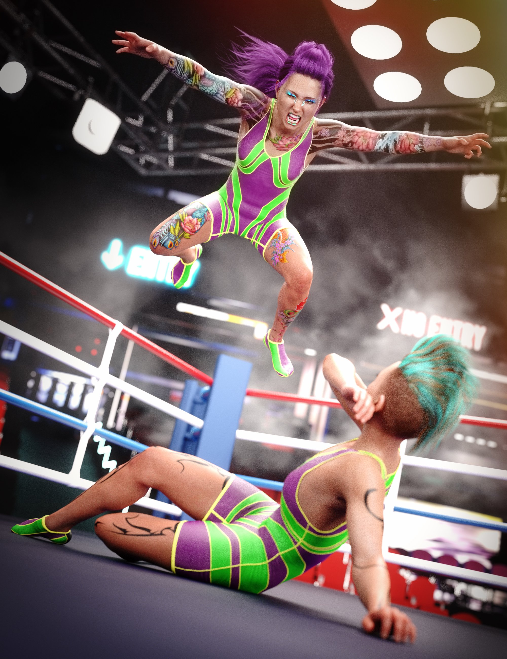 Amateur Wrestler Outfit for Genesis 8 Female by: Sixus1 Media, 3D Models by Daz 3D