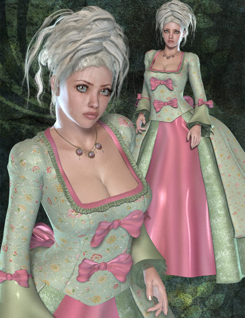 Marie Antoinette Gown V4/A4 by: Ryverthorn, 3D Models by Daz 3D
