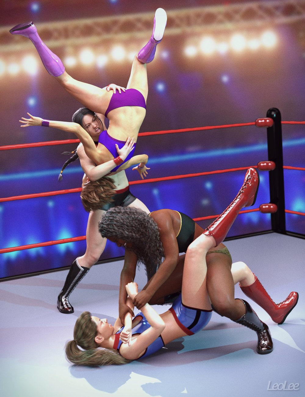 Women Wrestlers Poses for Genesis 3 and 8 Female by: Leo Lee, 3D Models by Daz 3D