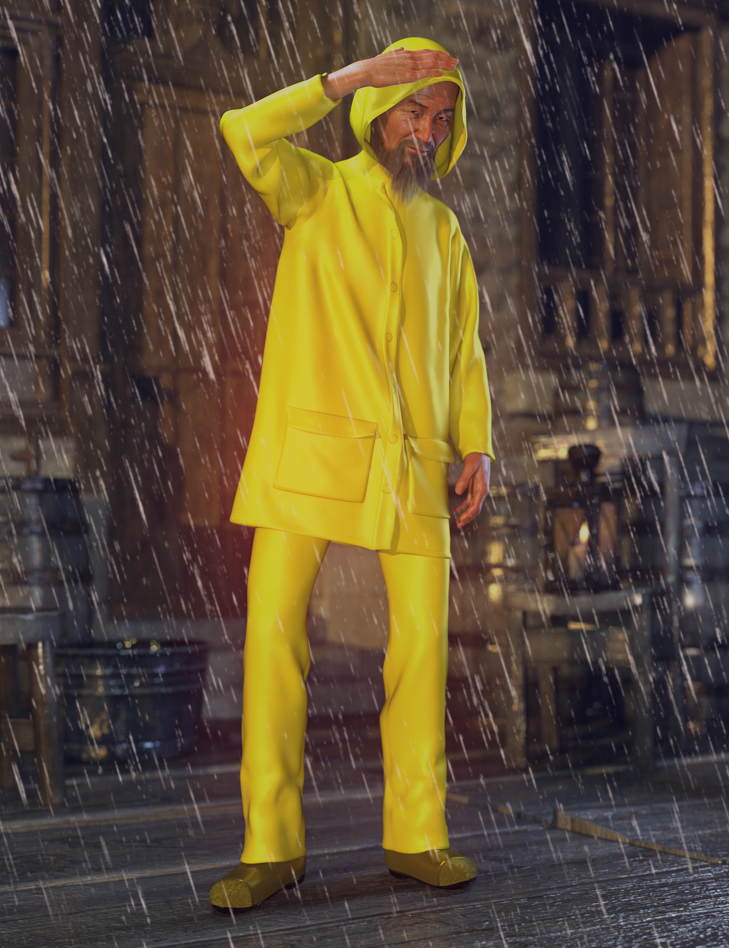 dForce Wet Weather Gear for Genesis 8 Male(s) by: Aave Nainen, 3D Models by Daz 3D