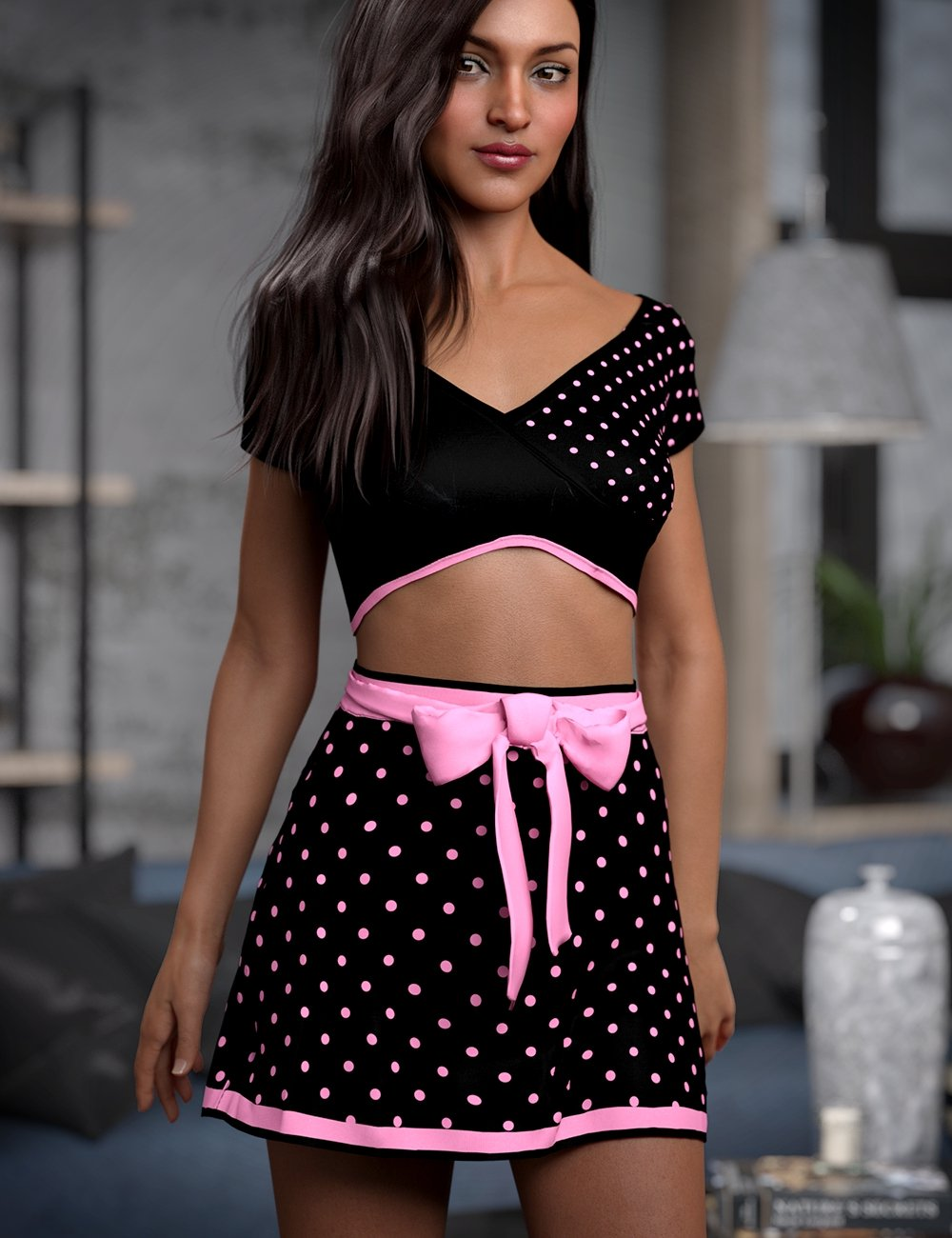 dForce Exes and Bows Outfit for Genesis 8 Female(s) by: Lyoness, 3D Models by Daz 3D