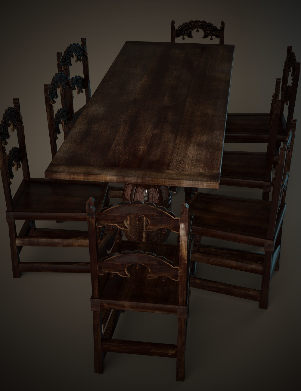 Jacobean English Dining Table Set by: Joanght, 3D Models by Daz 3D