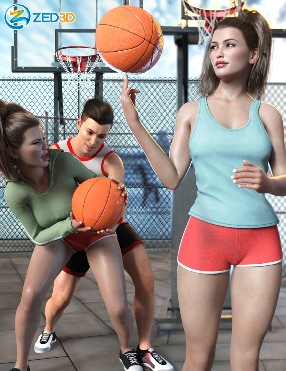 Z Shooting Hoops Scene and Poses for Genesis 8 by: Zeddicuss, 3D Models by Daz 3D