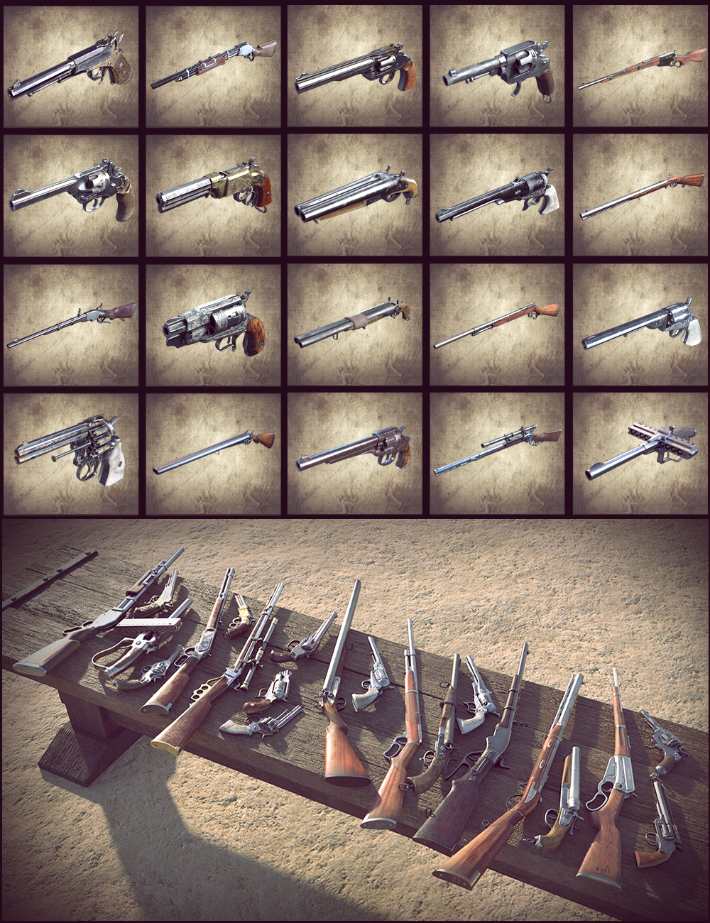 Western Guns by: Dekogon Studios, 3D Models by Daz 3D