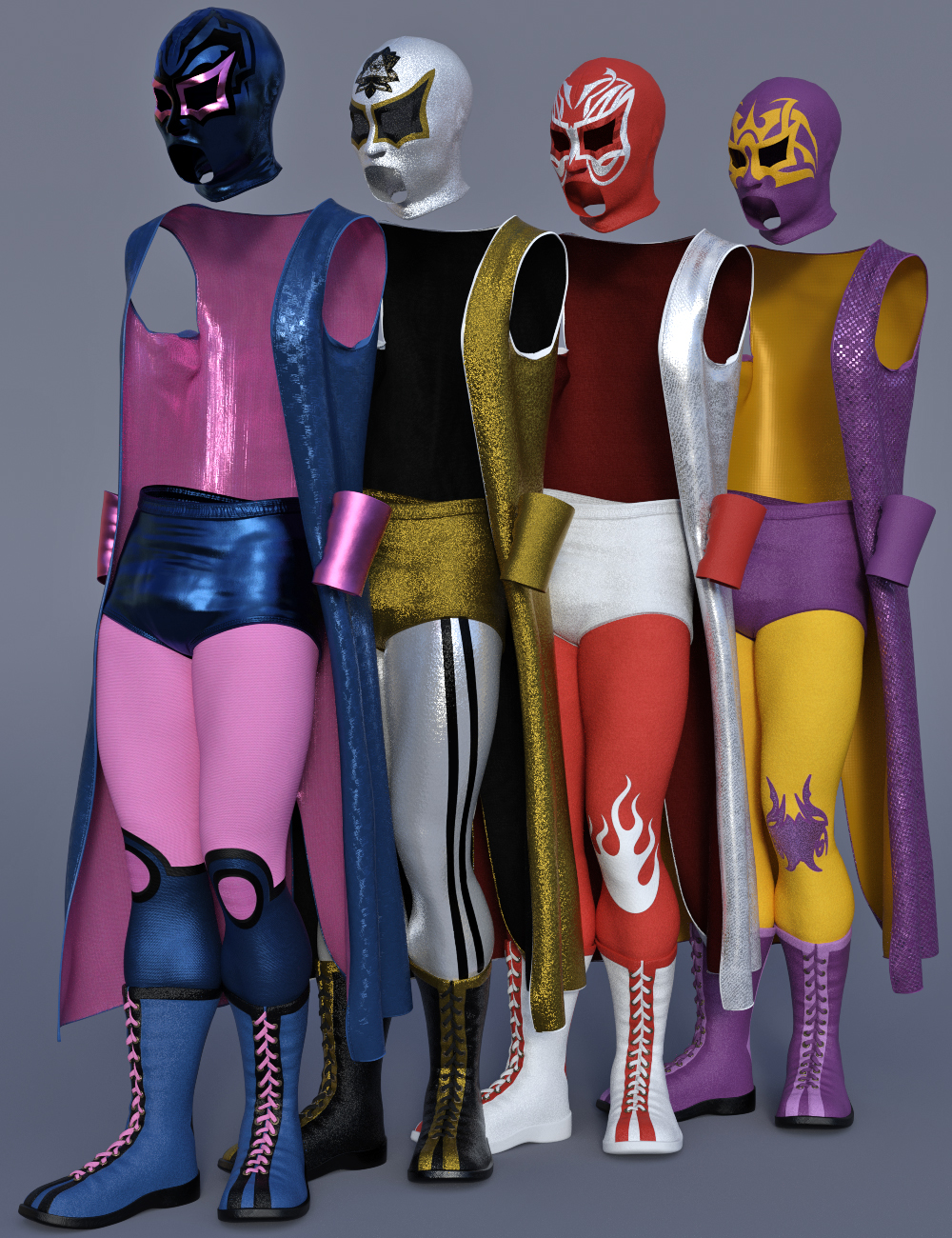 dForce Luchador Outfit Textures by: Moonscape GraphicsSade, 3D Models by Daz 3D