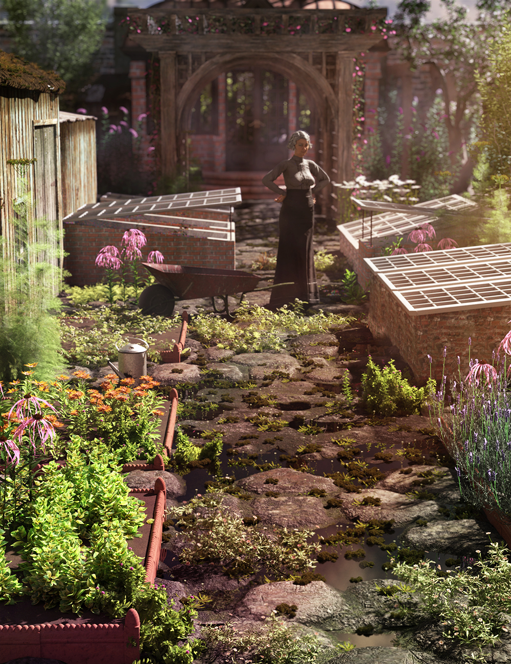 Victorian Garden Cold Frames and Edging Tiles by: MartinJFrost, 3D Models by Daz 3D
