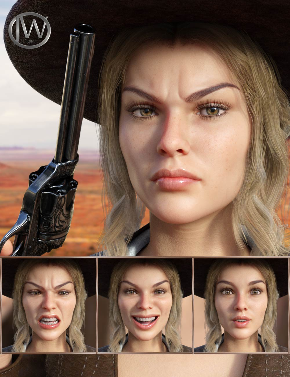 Western Girl - Expressions for Genesis 8 Female and Honni 8 by: JWolf, 3D Models by Daz 3D