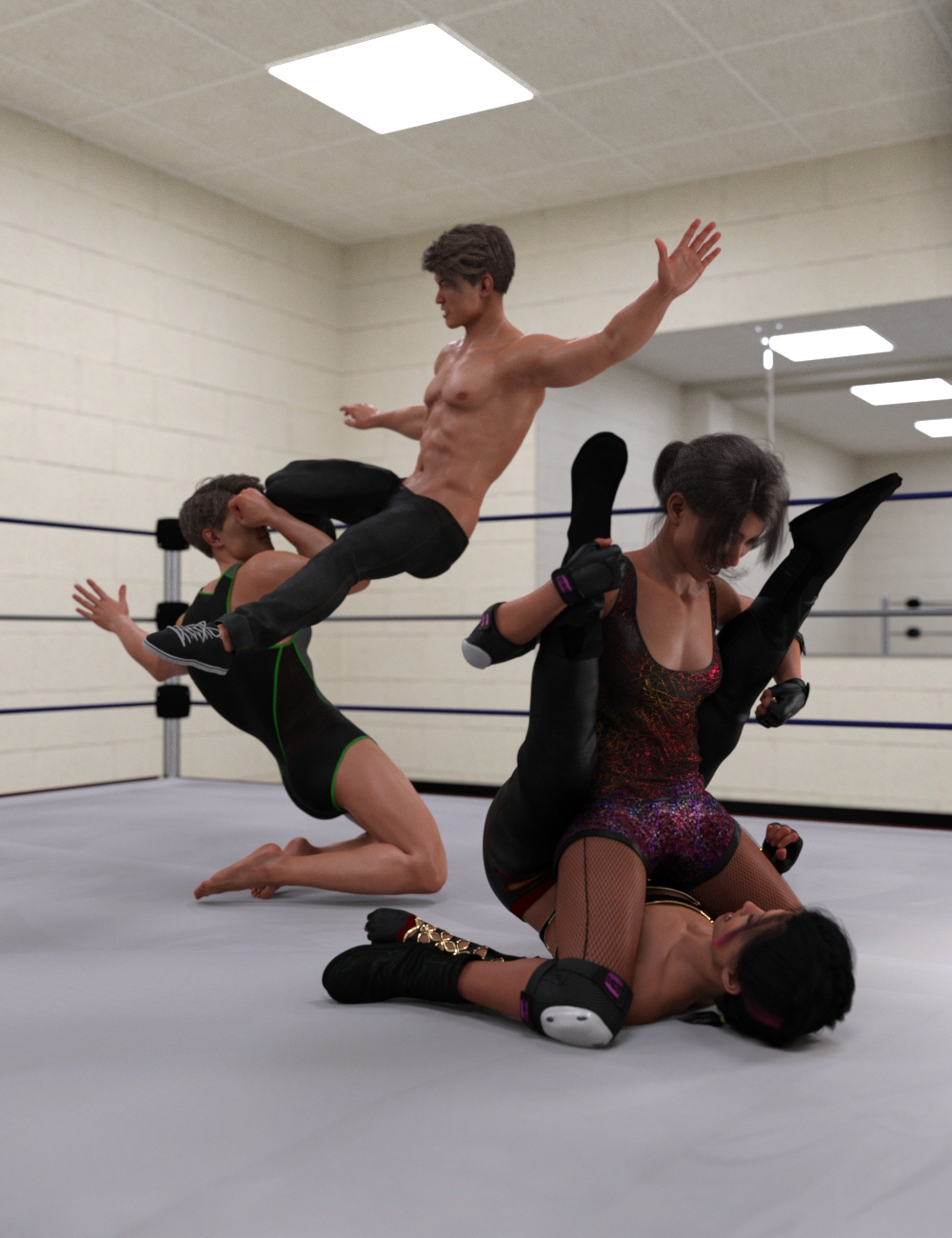 The Spectacle of Wrestling Poses for Genesis 8 by: Scuffles3d, 3D Models by Daz 3D