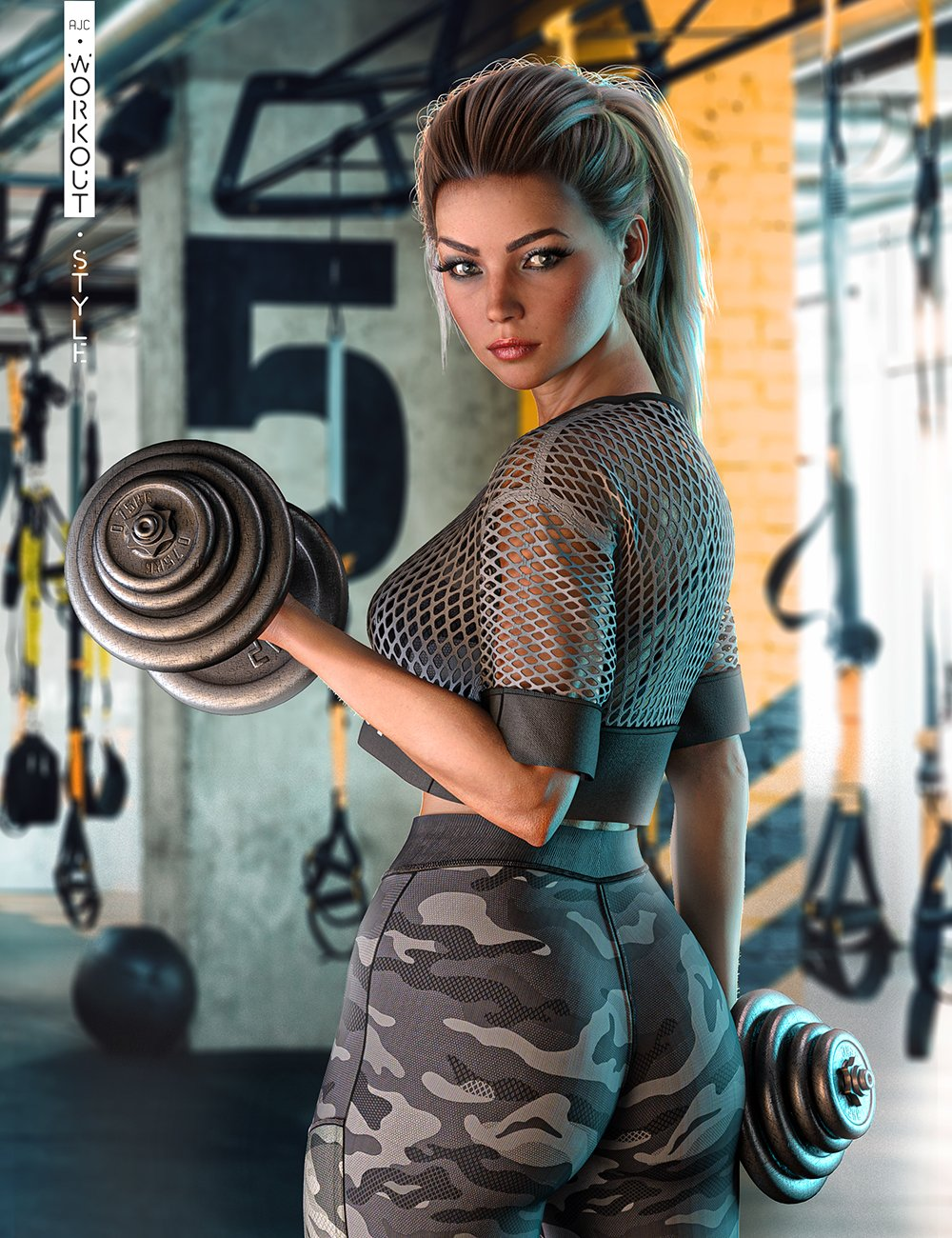 AJC Workout Style Outfit and Dumbbells for Genesis 8 Female(s) by: adeilsonjc, 3D Models by Daz 3D