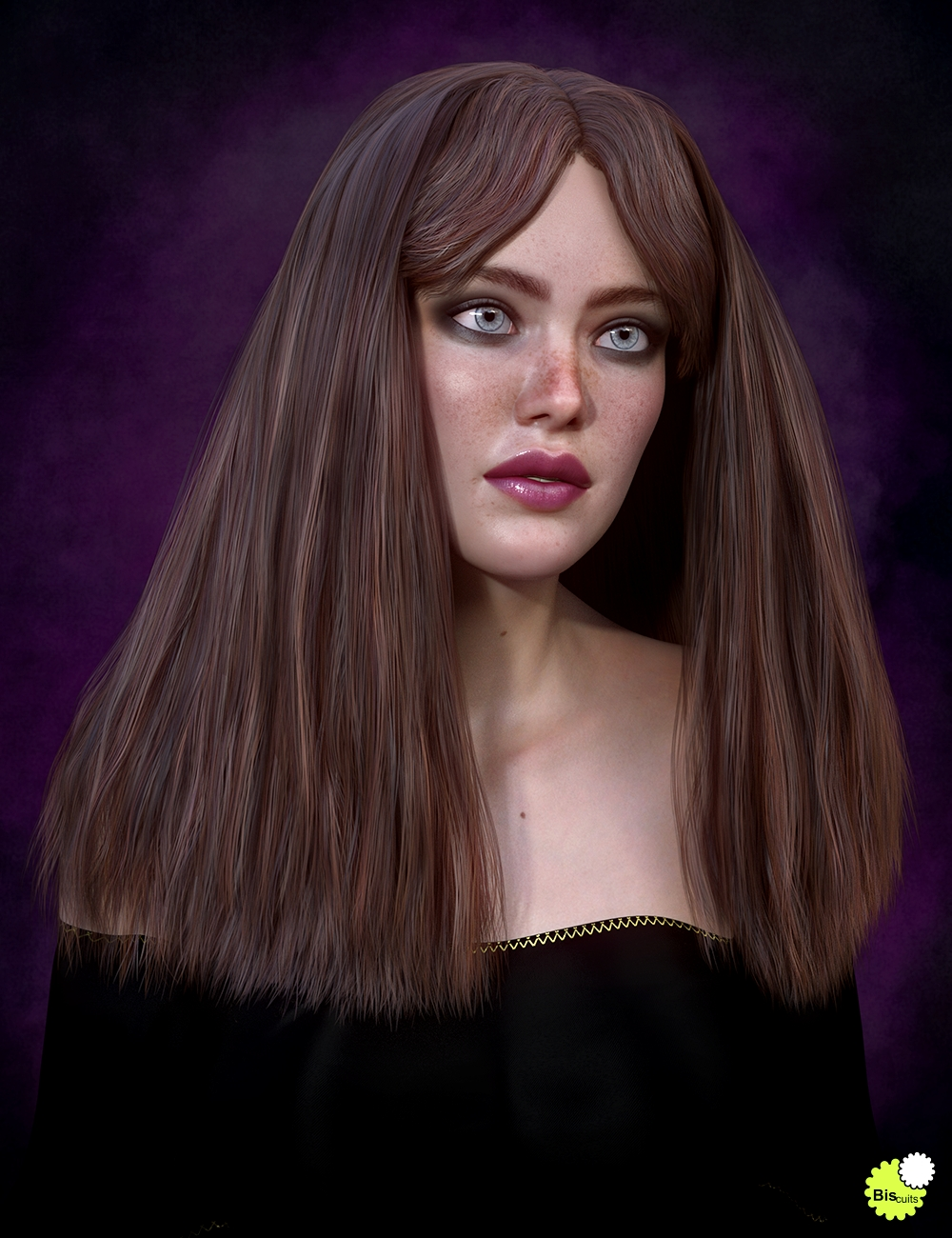 Biscuits Flo Hair with dForce for Genesis 8 Female(s) by: Biscuits, 3D Models by Daz 3D