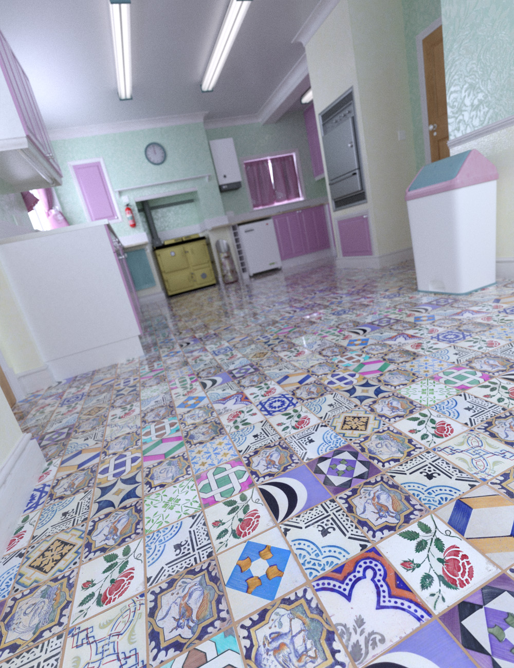 Patchwork Chic Floor Tile Iray Shaders by: ForbiddenWhispers, 3D Models by Daz 3D