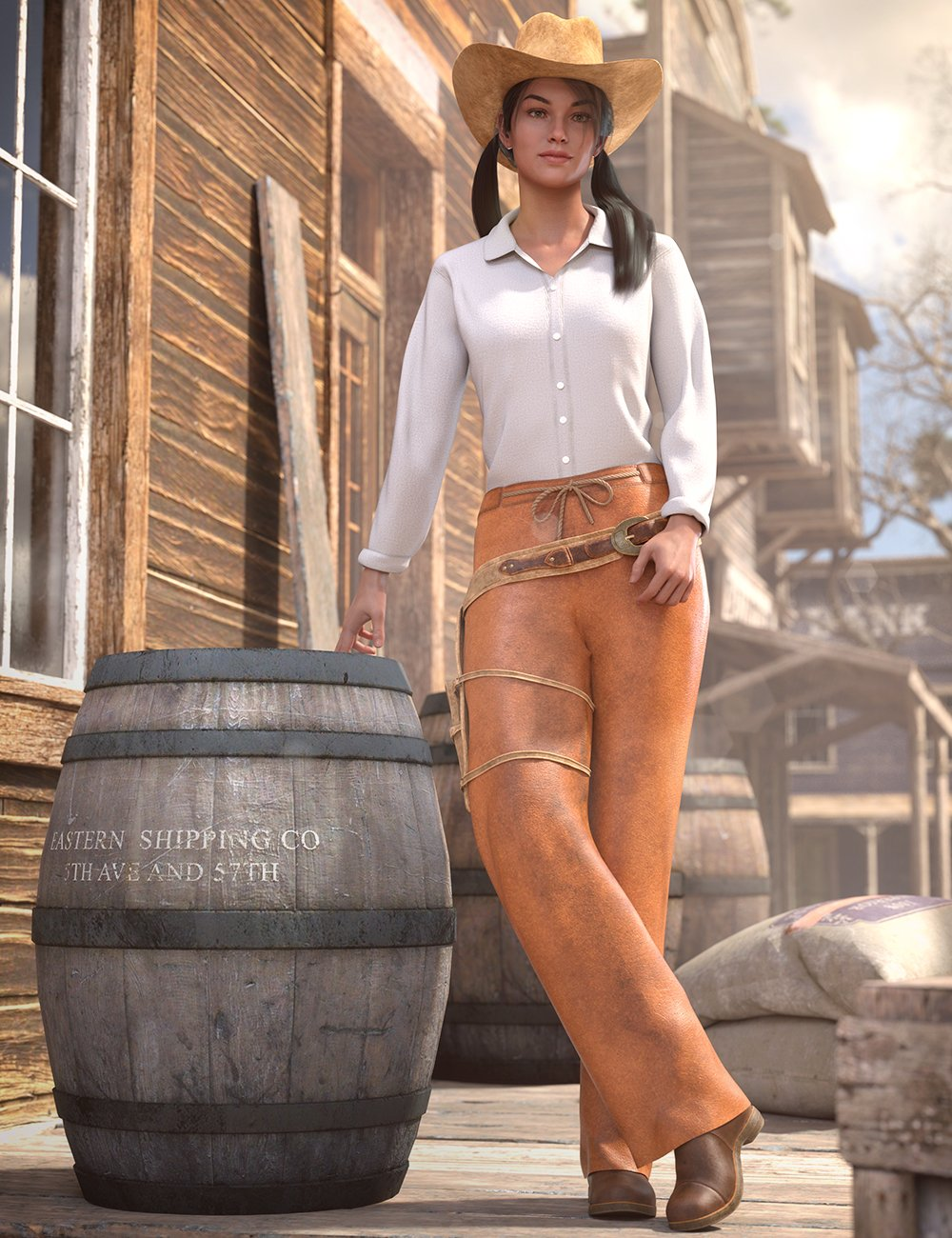 dForce Everyday Cowgirl Outfit for Genesis 8 Female(s) by: Moonscape GraphicsNikisatezSade, 3D Models by Daz 3D