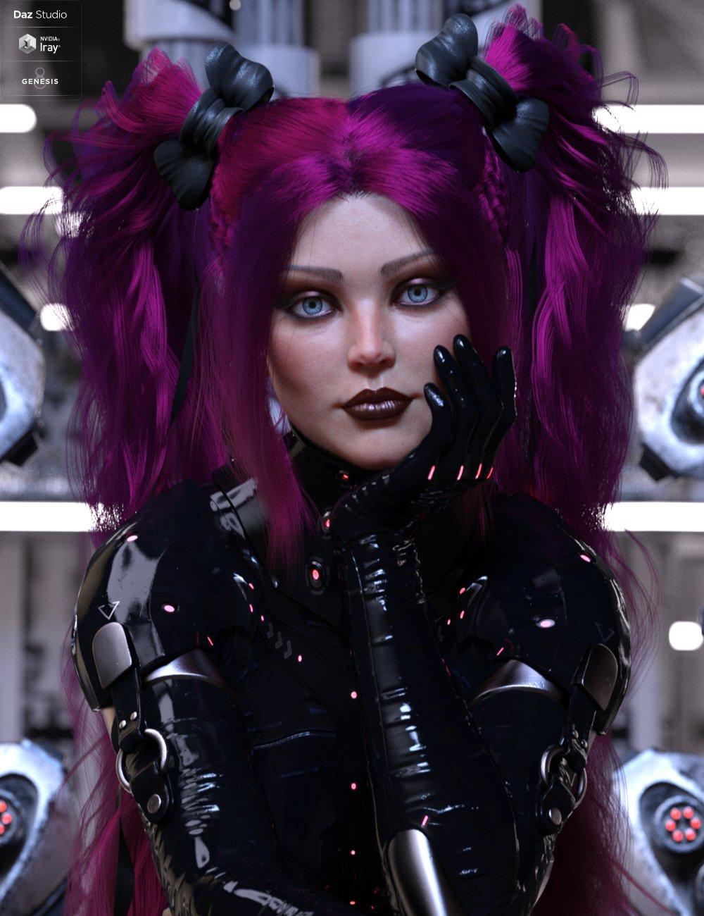 dForce Xariah Dual Ponytails Hair for Genesis 8 Female(s) by: HM, 3D Models by Daz 3D