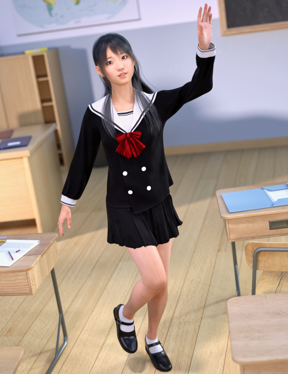 dForce Double Breasted Uniform for Genesis 8 Female(s) by: tentman, 3D Models by Daz 3D