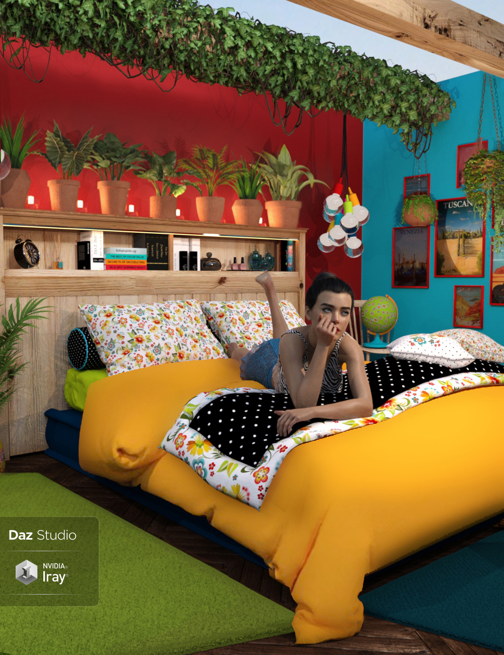 Boho Cottage: The Bedroom by: 3DStyle, 3D Models by Daz 3D