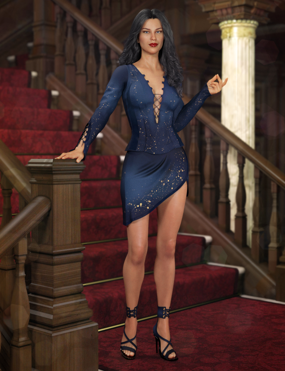 Descant Outfit for Genesis 8 Female(s) by: 4blueyes, 3D Models by Daz 3D
