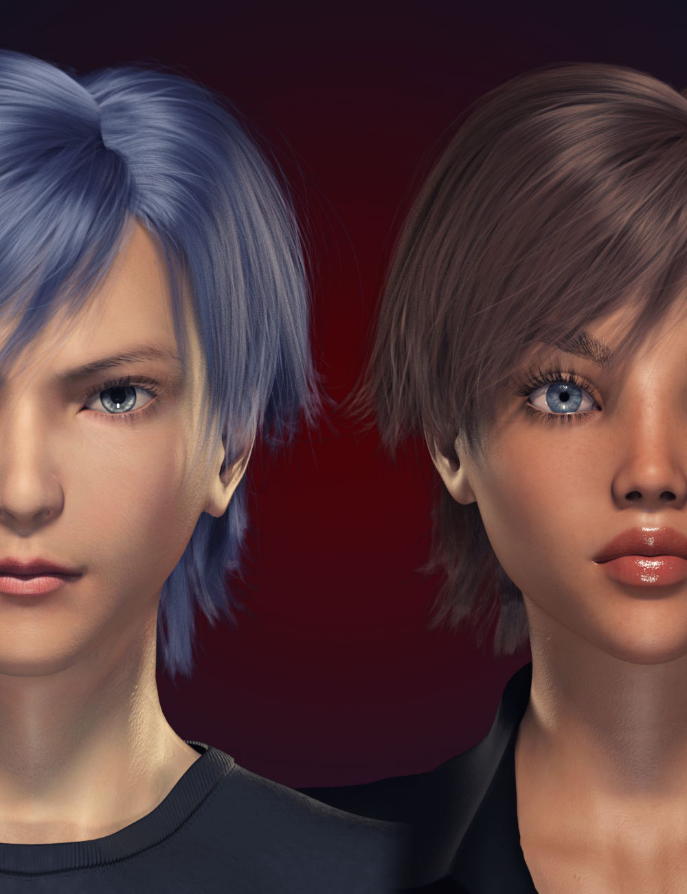 FE Short Hair Vol 1 for Genesis 8 Male and Female by: FeSoul, 3D Models by Daz 3D