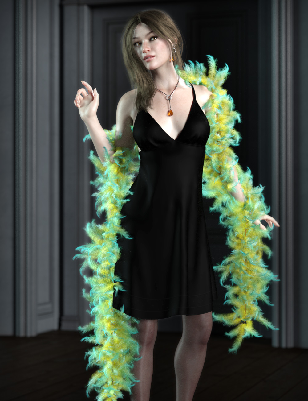 dForce Fur and Feather Boas for Genesis 8 Female(s) by: esha, 3D Models by Daz 3D