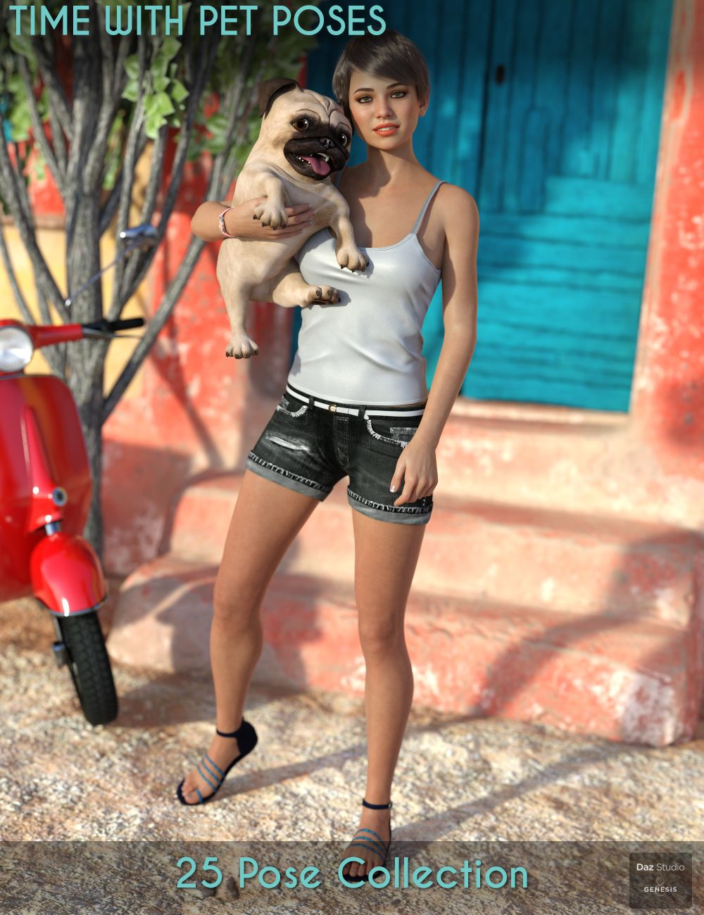Time With Pet Poses for Genesis 8 Female by: Paper TigerIronman, 3D Models by Daz 3D