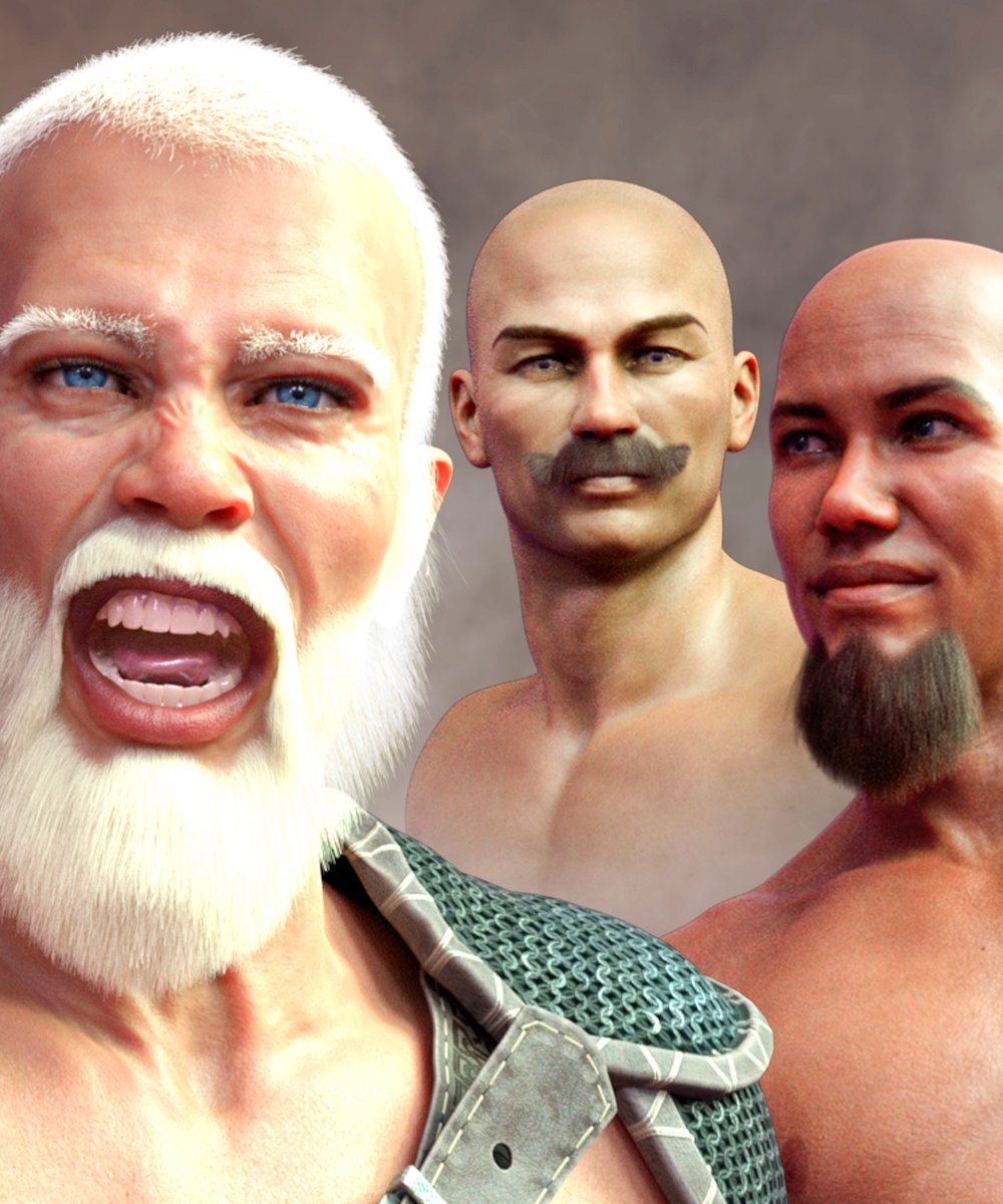 Facial Hair and Short Hair for Genesis 8 Male(s) by: Matari3D, 3D Models by Daz 3D