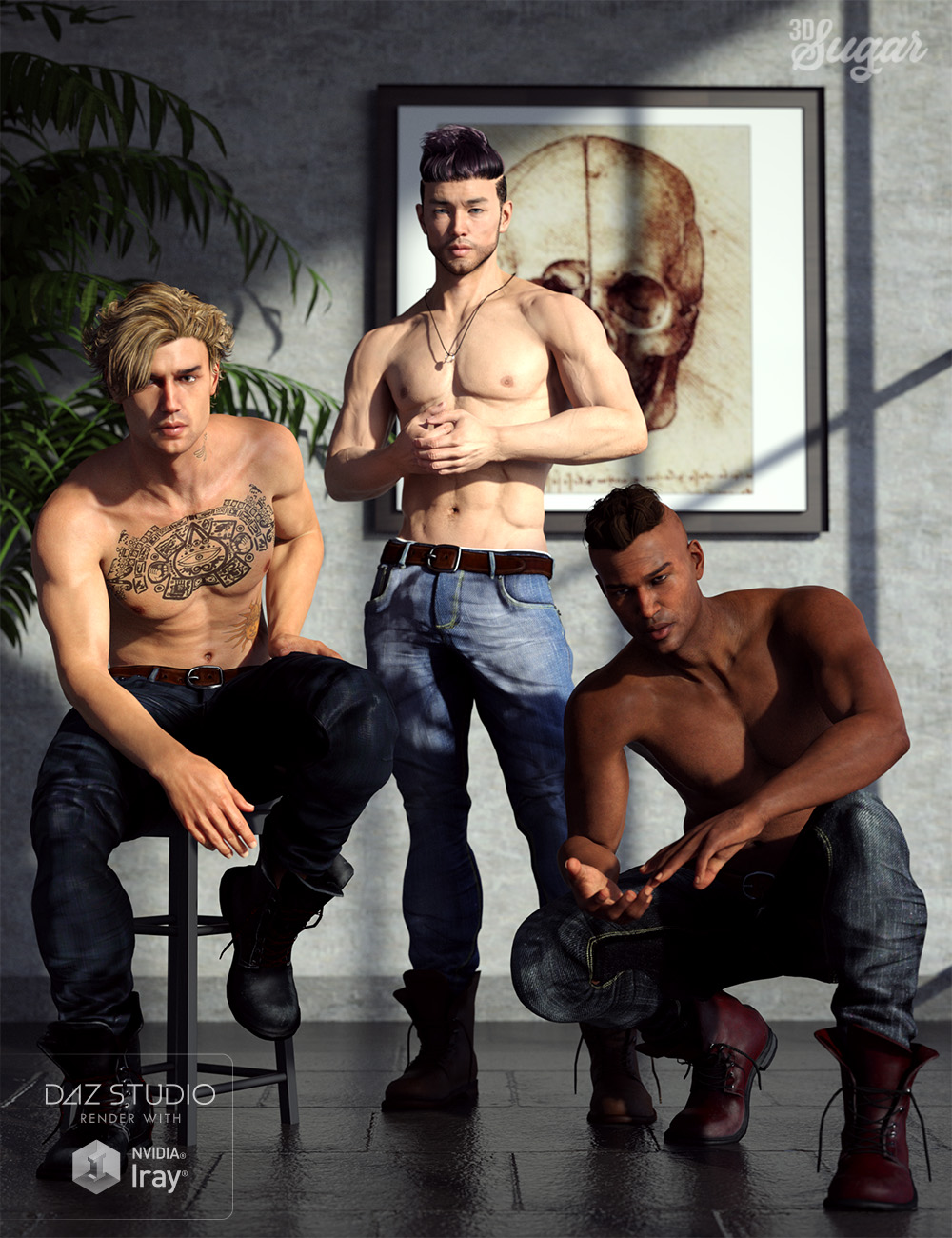 101 Series: Top Model Poses for Genesis 8 Males by: 3D Sugar, 3D Models by Daz 3D