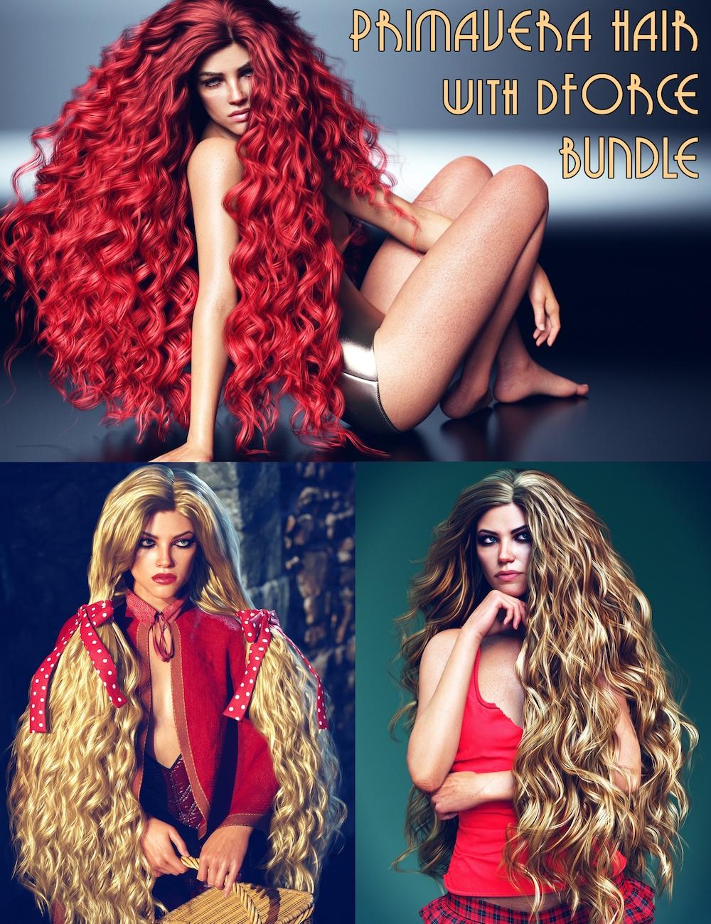 Primavera Hair with dForce Bundle by: Linday, 3D Models by Daz 3D
