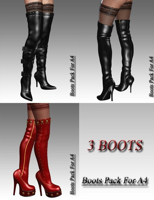 Boots Pack For A4 by: dx30, 3D Models by Daz 3D