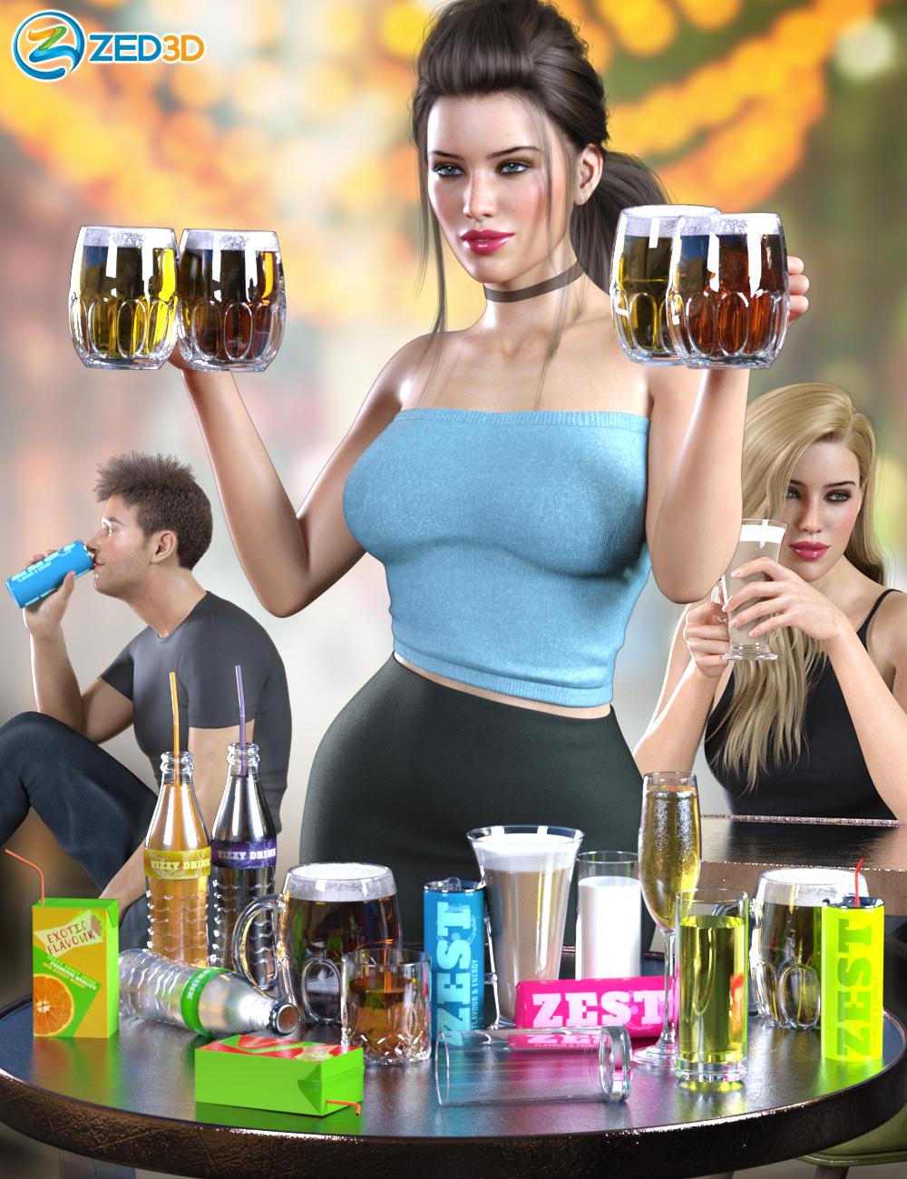 Z Drinks Aplenty Props and Poses for Genesis 8 by: Zeddicuss, 3D Models by Daz 3D