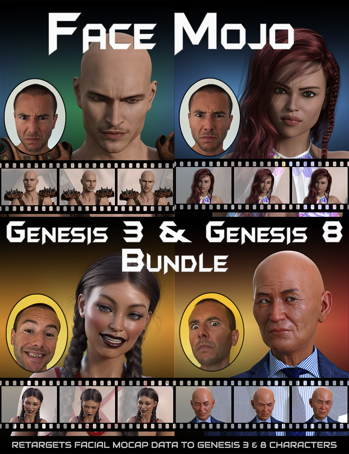 Face Mojo - Facial MoCap Retargeting - Genesis 3 and 8 Bundle by: LayLo 3D, 3D Models by Daz 3D