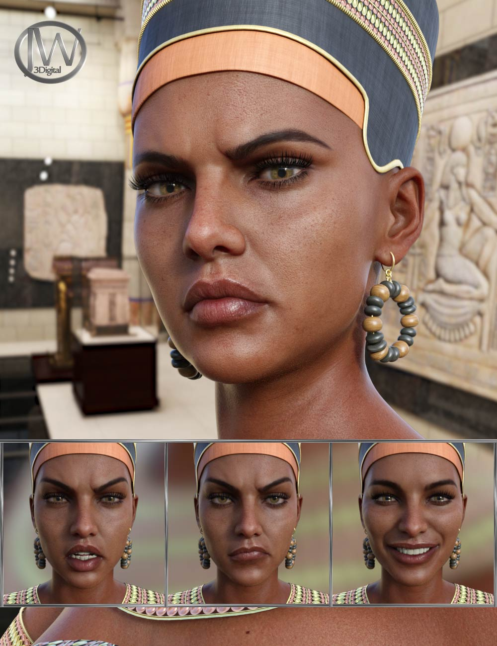 Egyptian Queen - Expressions for Genesis 8 Female and Twosret 8 by: JWolf, 3D Models by Daz 3D
