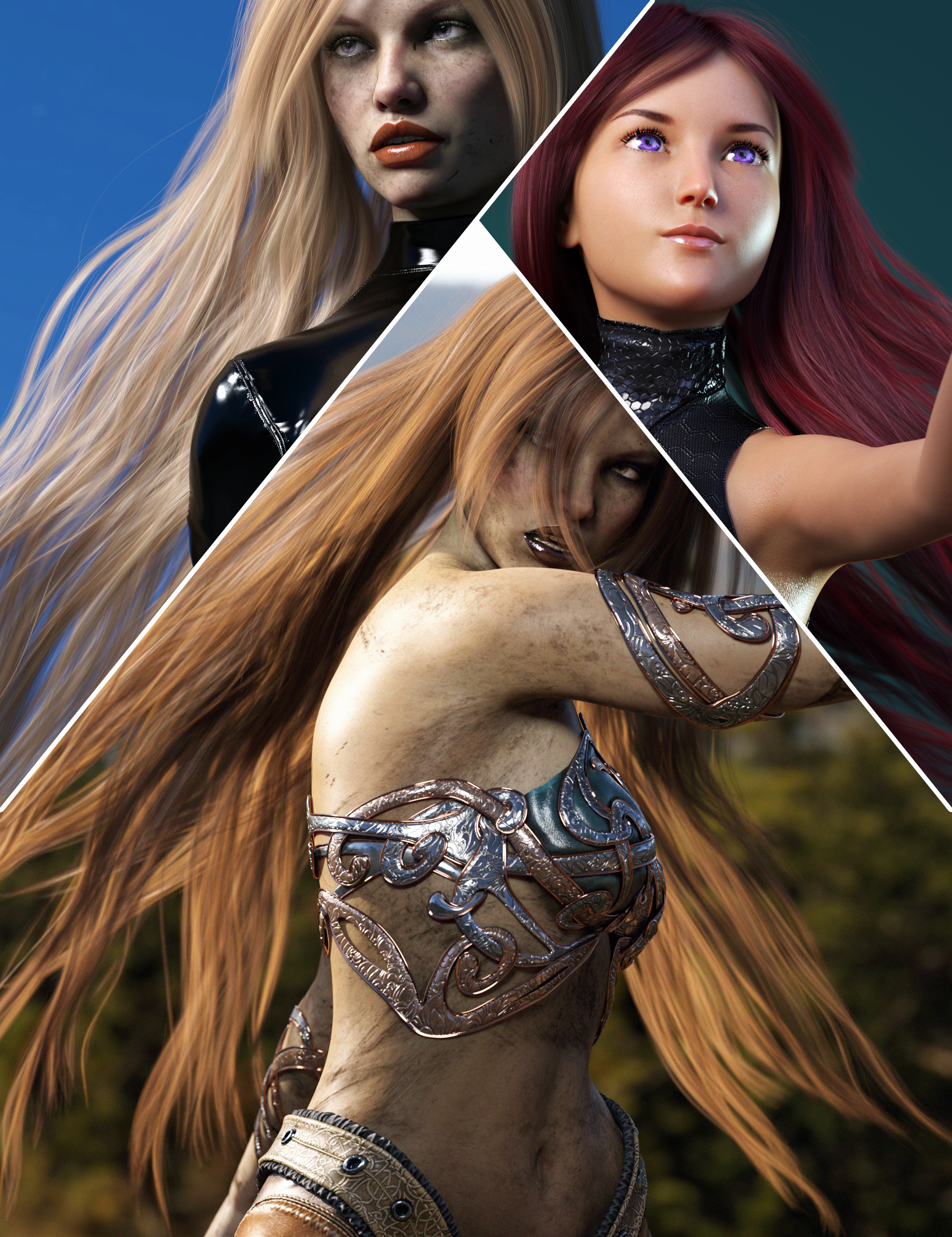 Turbulent Long Hair for Genesis 3 and 8 Females by: outoftouch, 3D Models by Daz 3D