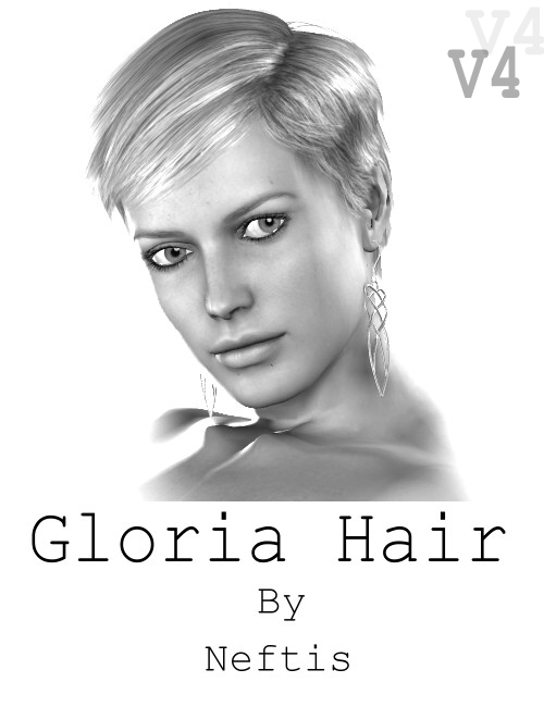 Gloria Short Hairstyle by: Neftis3D, 3D Models by Daz 3D